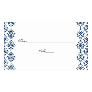 Navy Blue and White Damask Wedding Place Cards Business Card