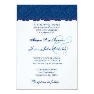 Navy Blue and White Damask Wedding V001 Card