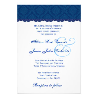 Navy Blue and White Damask Wedding V001 Announcement