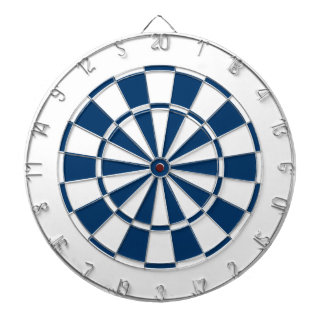 navy blue and white dartboard with darts