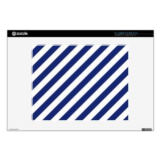 "Navy Blue and White Diagonal Stripes Pattern 12"" Laptop Decal"
