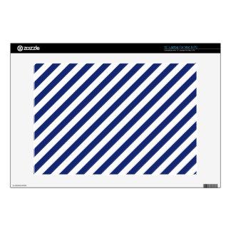 "Navy Blue and White Diagonal Stripes Pattern 13"" Laptop Skins"