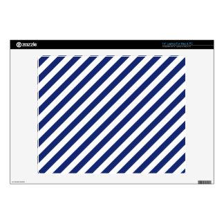 "Navy Blue and White Diagonal Stripes Pattern 14"" Laptop Skins"