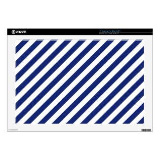 "Navy Blue and White Diagonal Stripes Pattern 17"" Laptop Skin"