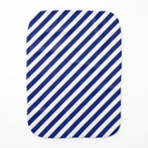 Navy Blue and White Diagonal Stripes Pattern Baby Burp Cloth