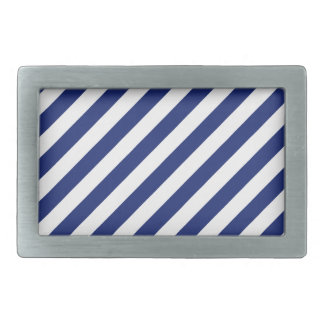 Navy Blue and White Diagonal Stripes Pattern Belt Buckle