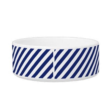Beach Themed Navy Blue and White Diagonal Stripes Pattern Bowl