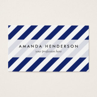 Navy Blue and White Diagonal Stripes Pattern Business Card
