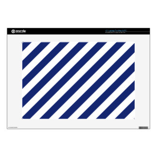 """Navy Blue and White Diagonal Stripes Pattern Decal For 15"""" Laptop"""