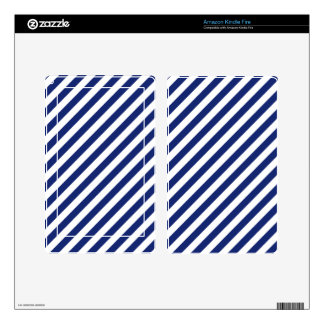 Navy Blue and White Diagonal Stripes Pattern Decal For Kindle Fire