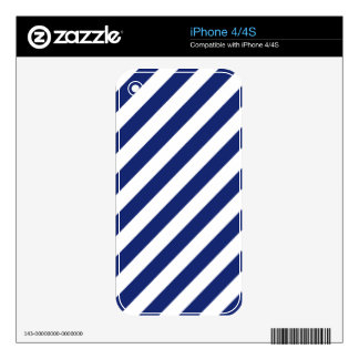 Navy Blue and White Diagonal Stripes Pattern iPhone 4S Skin