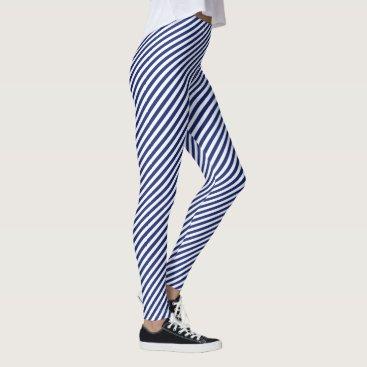 Beach Themed Navy Blue and White Diagonal Stripes Pattern Leggings
