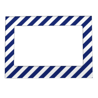 Navy Blue and White Diagonal Stripes Pattern Magnetic Photo Frame