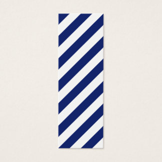 Navy Blue and White Diagonal Stripes Pattern Mini Business Card