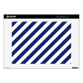 Navy Blue and White Diagonal Stripes Pattern Skins For Acer Chromebook