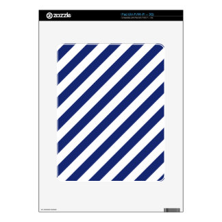 Navy Blue and White Diagonal Stripes Pattern Skins For The iPad