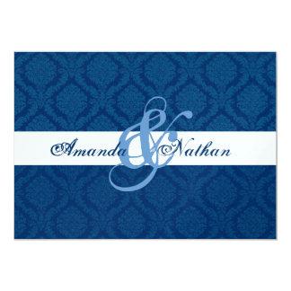 Navy Blue and White Diamond Damask Wedding Card