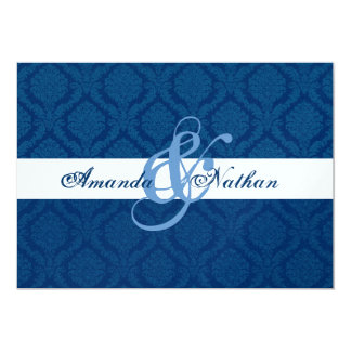 Navy Blue and White Diamond Damask Wedding 5x7 Paper Invitation Card