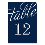 Navy Blue And White Elegant Script Table Numbers at Zazzle