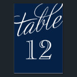 """Navy Blue and White Elegant Script Table Numbers<br><div class=""""desc"""">Simple and chic elegant table number cards with a calligraphy style script font. Customize each card with your table numbers to suit any size wedding or party. Click Customize It to change the number font and color or change the background color to create your own unique one of a kind...</div>"""