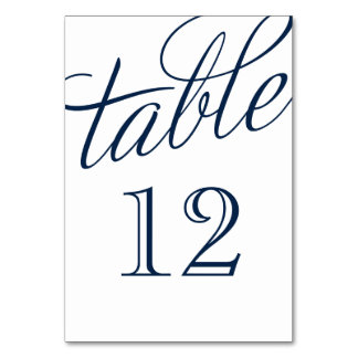 Navy Blue and White Elegant Script Table Numbers Card