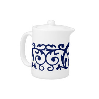 Navy Blue and White Elegant Teapot
