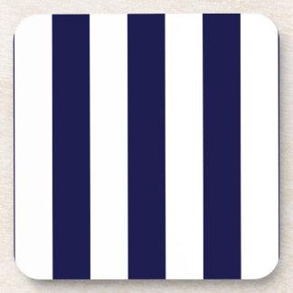 Navy Blue and White Extra Large Stripe Pattern Beverage Coaster