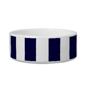 Navy Blue and White Extra Large Stripe Pattern Bowl