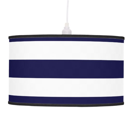 Navy Blue And White Extra Large Stripe Pattern Ceiling