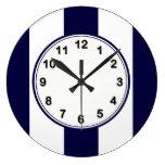 Navy Blue and White Extra Large Stripe Pattern Clocks