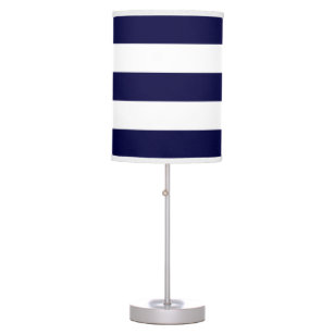 Navy Blue and White Extra Large Stripe Pattern Desk Lamp