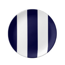 Navy Blue and White Extra Large Stripe Pattern Dinner Plate