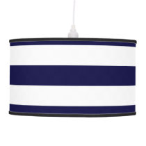 Navy Blue and White Extra Large Stripe Pattern Hanging Lamp