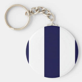 Navy Blue and White Extra Large Stripe Pattern Keychain