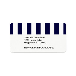 Navy Blue and White Extra Large Stripe Pattern Label