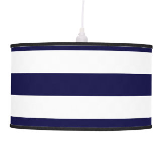 Navy Blue and White Extra Large Stripe Pattern Ceiling Lamps