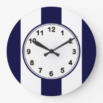 Navy Blue and White Extra Large Stripe Pattern Large Clock