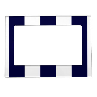 Navy Blue and White Extra Large Stripe Pattern Magnetic Picture Frames