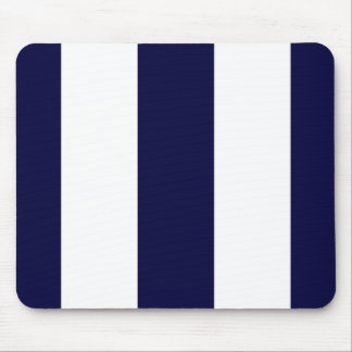 Navy Blue and White Extra Large Stripe Pattern Mouse Pad