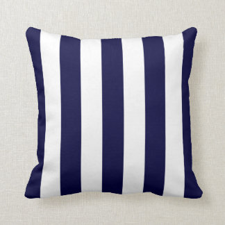 Navy Blue and White Extra Large Stripe Pattern Throw Pillows