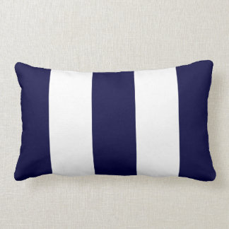 Navy Blue and White Extra Large Stripe Pattern Throw Pillow