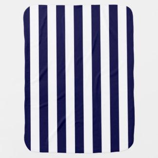 Navy Blue and White Extra Large Stripe Pattern Swaddle Blanket
