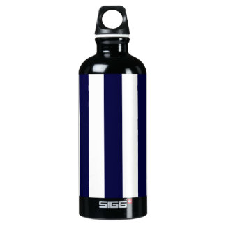 Navy Blue and White Extra Large Stripe Pattern Water Bottle