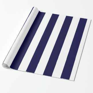 Navy Blue and White Extra Large Stripe Pattern Gift Wrap Paper