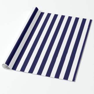 Navy Blue and White Extra Large Stripe Pattern Gift Wrap