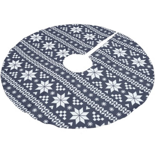 Navy Blue and White Fair Isle Pattern Brushed Polyester Tree Skirt