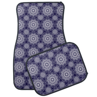 Navy Blue And White Floral Damask Patterned Car Floor Mat