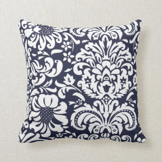 Navy Blue and White Floral Damask Throw Pillow