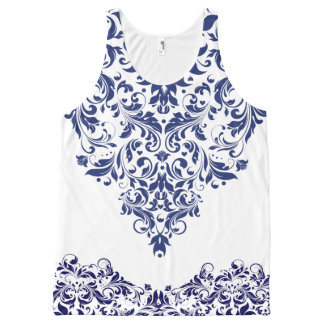 Navy Blue And White Floral Lace Design All-Over Print Tank Top
