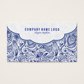 Navy Blue And White Floral Paisley Business Card